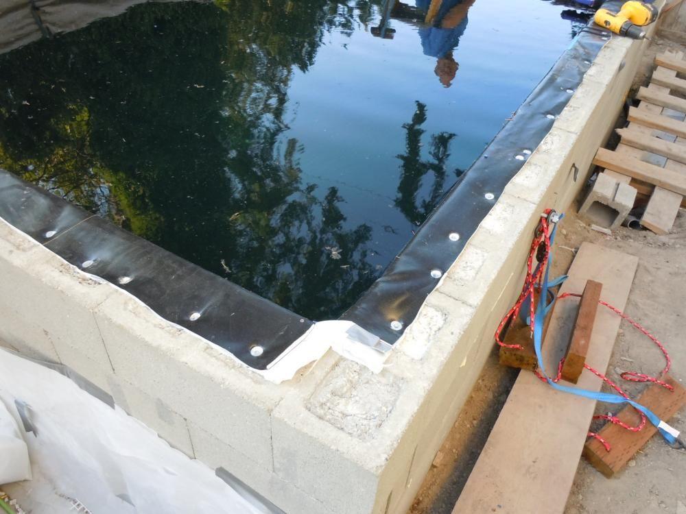Topping Off A Concrete Block Liner Pond Ponds Backyard Aquaponics Aquaponics System