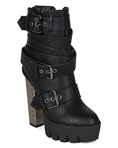 Bumper BI81 Women Leatherette Lug Sole Strappy Buckle Metal Chunky Heel Platform Bootie – Black | Smart Pinner
