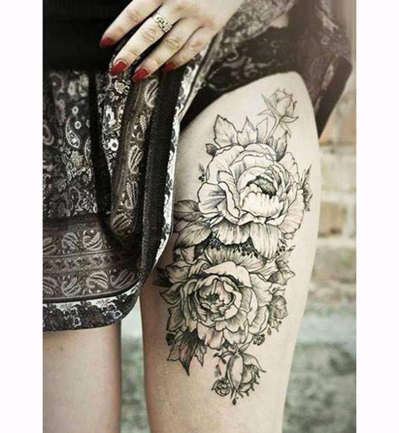 Tatouage Old School Les Fleurs En Noir Et Blanc Tattoo Ideas