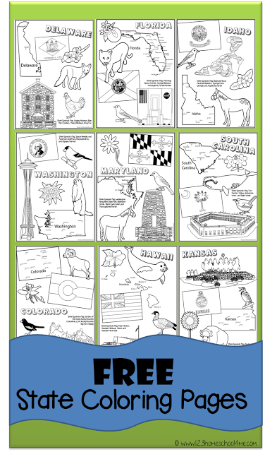 FREE Printable State Coloring Pages Kindergarten social