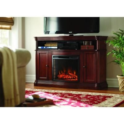 Home Decorators Collection Montero 56 in. Media Console Infrared Electric Fireplace in Mahogany-268-67-70M-Y - The Home Depot