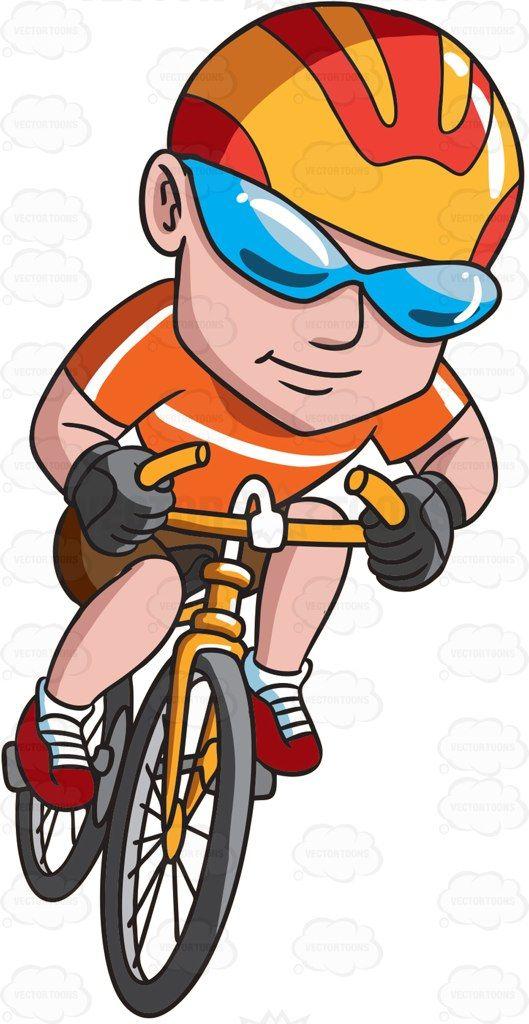 A happy man riding a bike #cartoon #clipart #vector