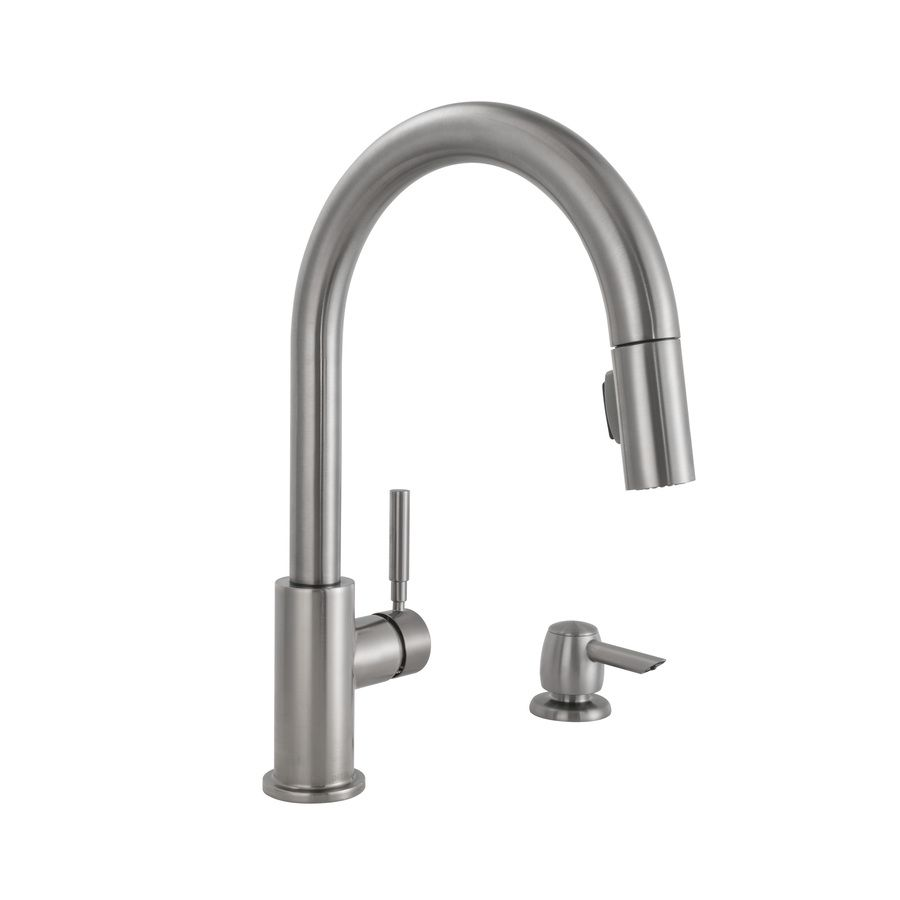 Shop Delta Trask Stainless Steel 1-Handle Pull-Down Kitchen Faucet ...