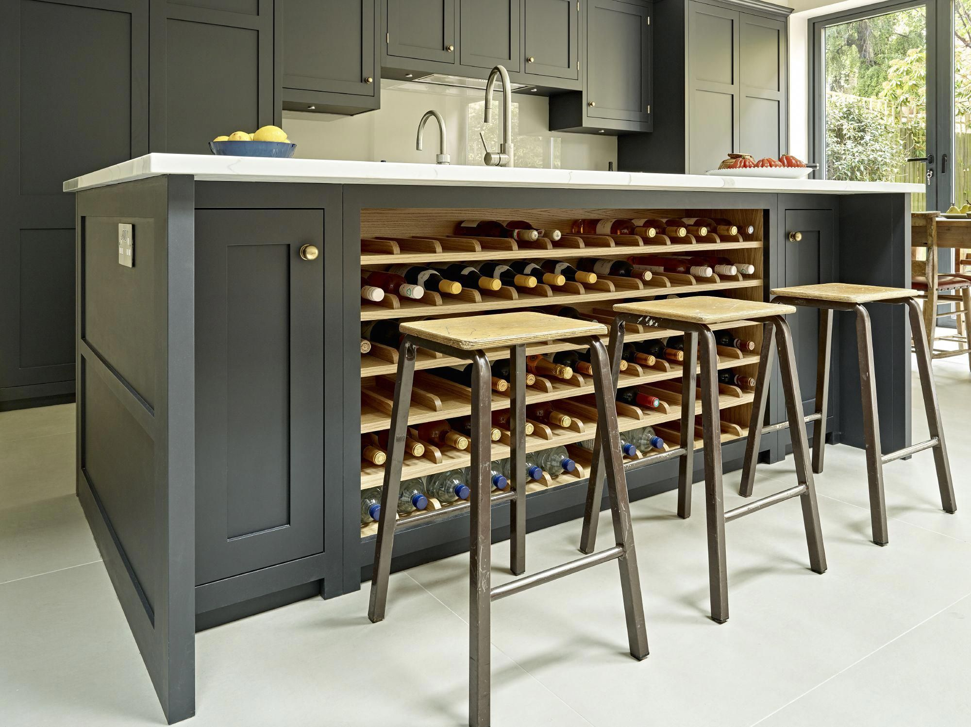 Grey Black Kitchen Island Design With Integrated Wine Rack In Oak Large Bespoke Island With Breakfast Bar Seating And Grey Ca Kitchen Design Kitchen Interior Interior Design Kitchen