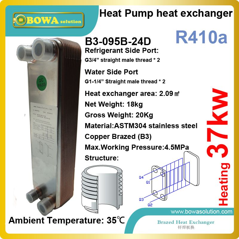 37kw Heating Capacity R410a To Water 45bar Stainless Steel Plate