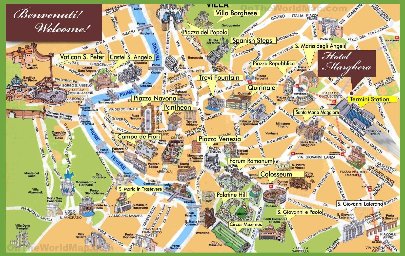 Rom Sehenswürdigkeiten Karte Deutsch.Rom Stadtplan Mit Sehenswürdigkeiten Zum Download Planative