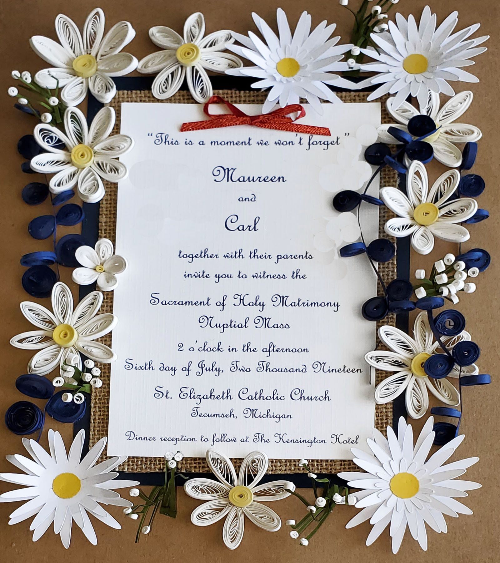 Keepsake Wedding Gifts: Daisy Themed Wedding Invitation Keepsake Gift