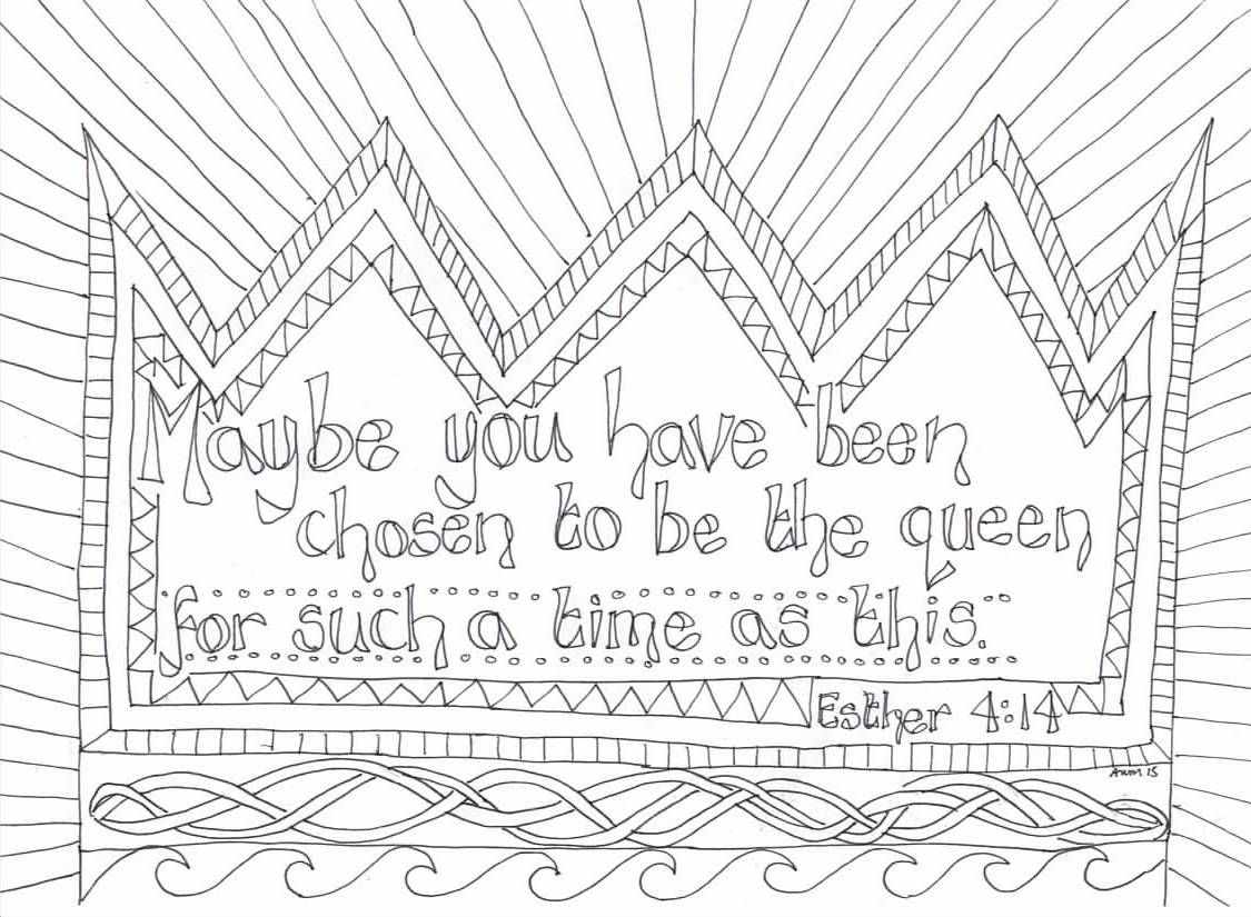 Esther Reflective Colouring Sheet Sunday School