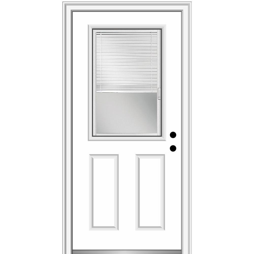 Mmi Door 30 In X 80 In Internal Blinds Left Hand 1 2 Lite Clear 2 Panel Classic Primed Fiberglass Smooth Prehung Front Door Prehung Doors Primed Doors House Design