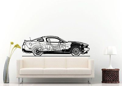 Wall room decal vinyl sticker american muscle cars blueprint race wall room decal vinyl sticker american muscle cars blueprint race big large l579 malvernweather Choice Image