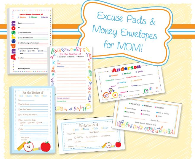 Excuse Pads & Money Envelopes - A quick and easy way to send money or a note to your child's teacher.
