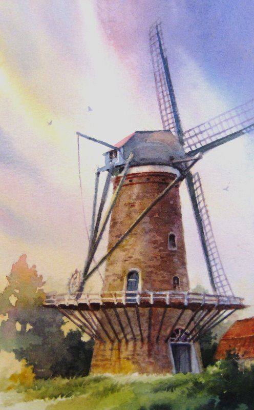 Paintings Of Dutch Windmills Windmill Art Painting Dutch Windmills