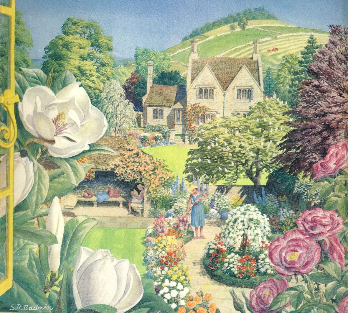 Pin By Sue Leech On S R Badmin In 2020 Cottage Garden Painting Art