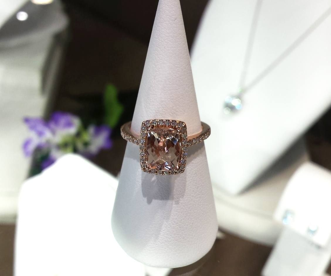 14kt rose gold 1.93ct morganite and diamond ring  http://www.hwilliamsjewellery.com/jewellery-products/gemstone-ring/14997