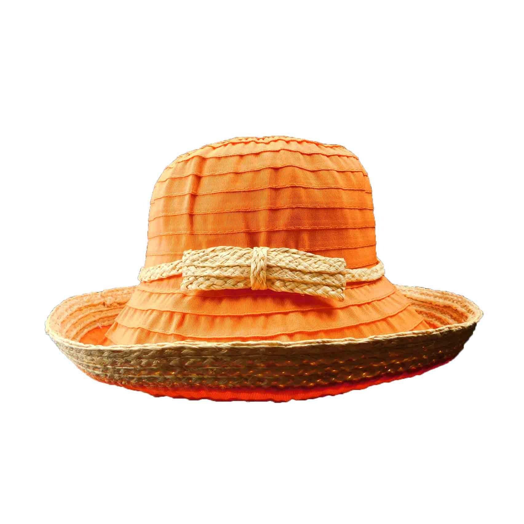 f714f4eb0f5 Ribbon and Raffia Kettle Brim Hat