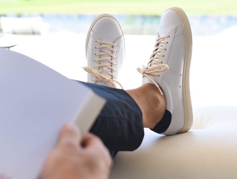 5de6f96787cd7f Clae Bradley White Leather Trainers On Feet  claebradley  sneakers  trainers   clae