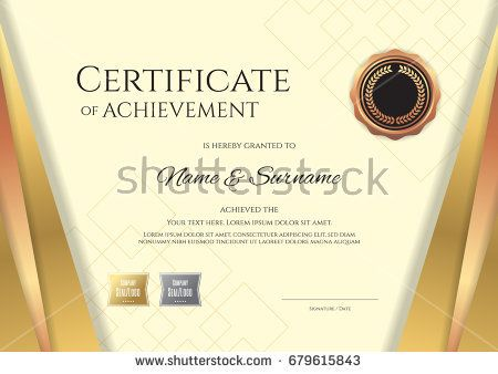 Luxury Certificate Template With Elegant Golden Border Frame