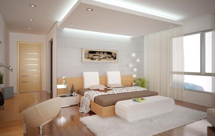 Abgehängte Decke  Dekoration Indirekte Beleuchtung  Schlafzimmer Hell Weiss Holz