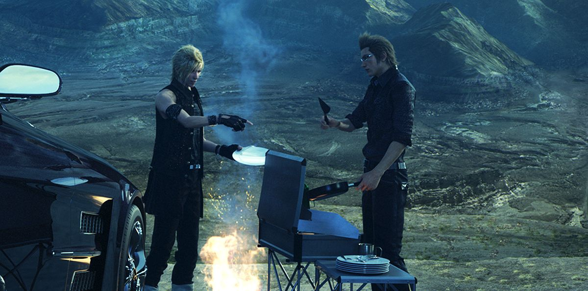 Prompto and Ignis having a BBQ - Modern #MonsterHunter?