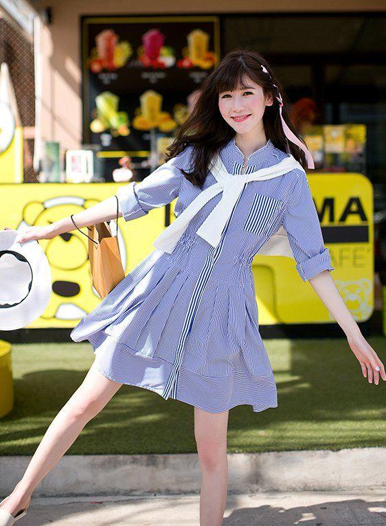 CW27545 Slim Korean style dress stripe high waist T-back for women