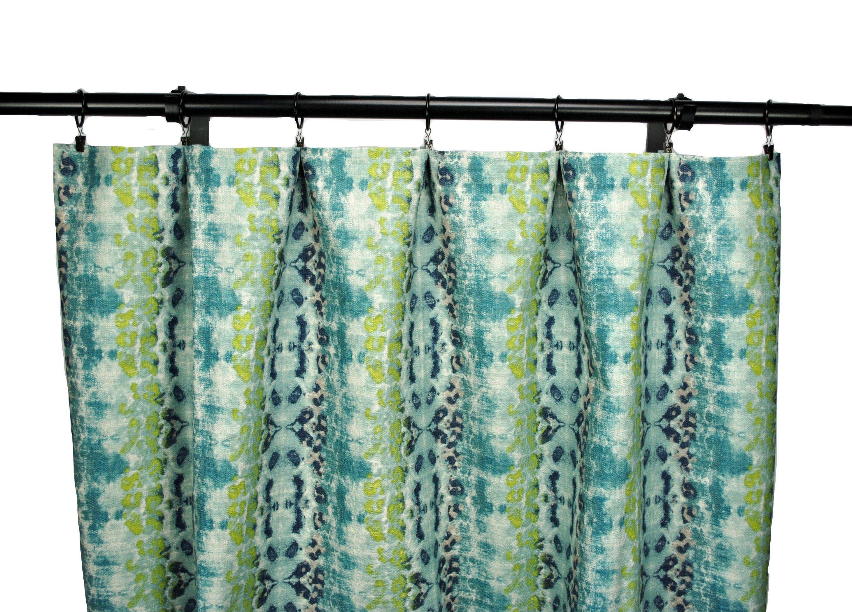 Ikat Curtains Lime Green Palm Navy Blue Curtain 2 Curtain