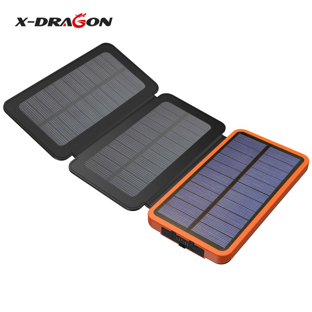 X Dragon Foldable Solar Panel 10000mah Solar Power Bank Charger For Iphone Ipad Samsung Htc Huawei Xiaomi Solar Charger Solar Power Bank Solar Battery Charger