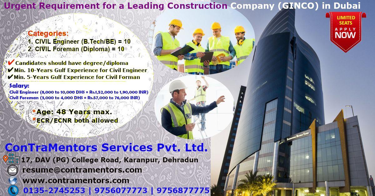 Cv Selection For A Leading Construction Company Ginco In Dubai