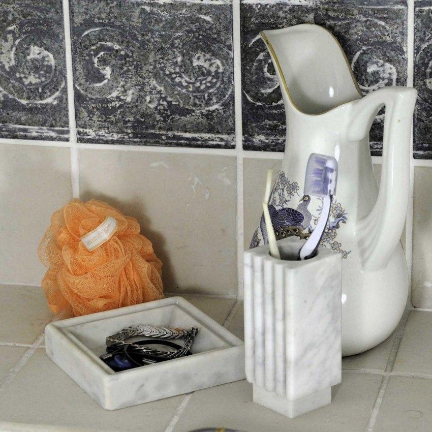 Bathroom Sets Bernini In White Carrara Marble Modern Toothbrush Holder Soap Dish