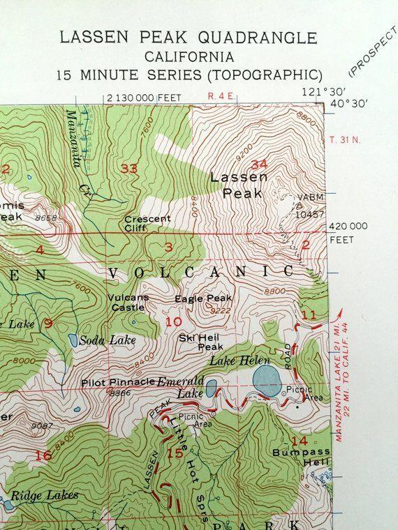 Antique Lassen Peak California 1956 Us Geological Survey