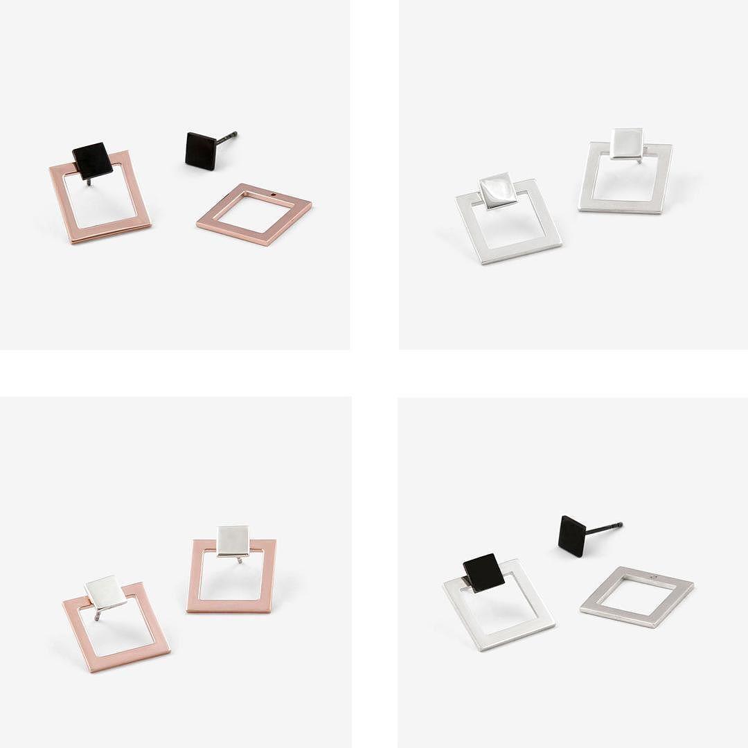 Two part Ikona Square Earring  available in http://mara.paris/shop #maraparis #jewelry #sterlingsilver #earrings by mara.paris