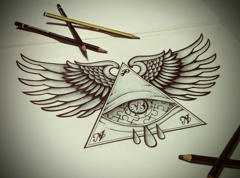 Tattoo #wings #eye #blackandwhite #triangle #drawing #art ...