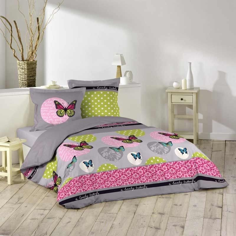 Disponible sur Maisondulingefr Parure de Lit Papillon Rose 240x220