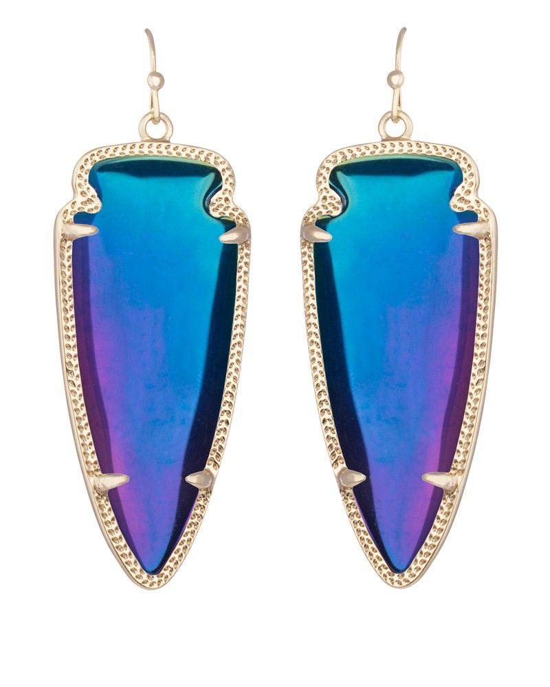 Iridescent Blue For Flight Feathers Skylar Earrings In Black Kendra Scott