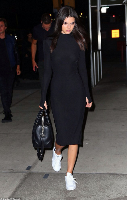 f7f8d8db9dfd32 Kendall Jenner dresses up her Adidas with a tight long sleeve black dress
