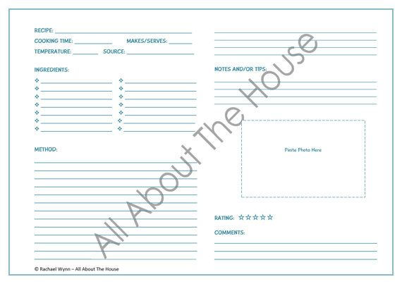 Editable Printable Recipe Sheet Template  Meal Planning  Product