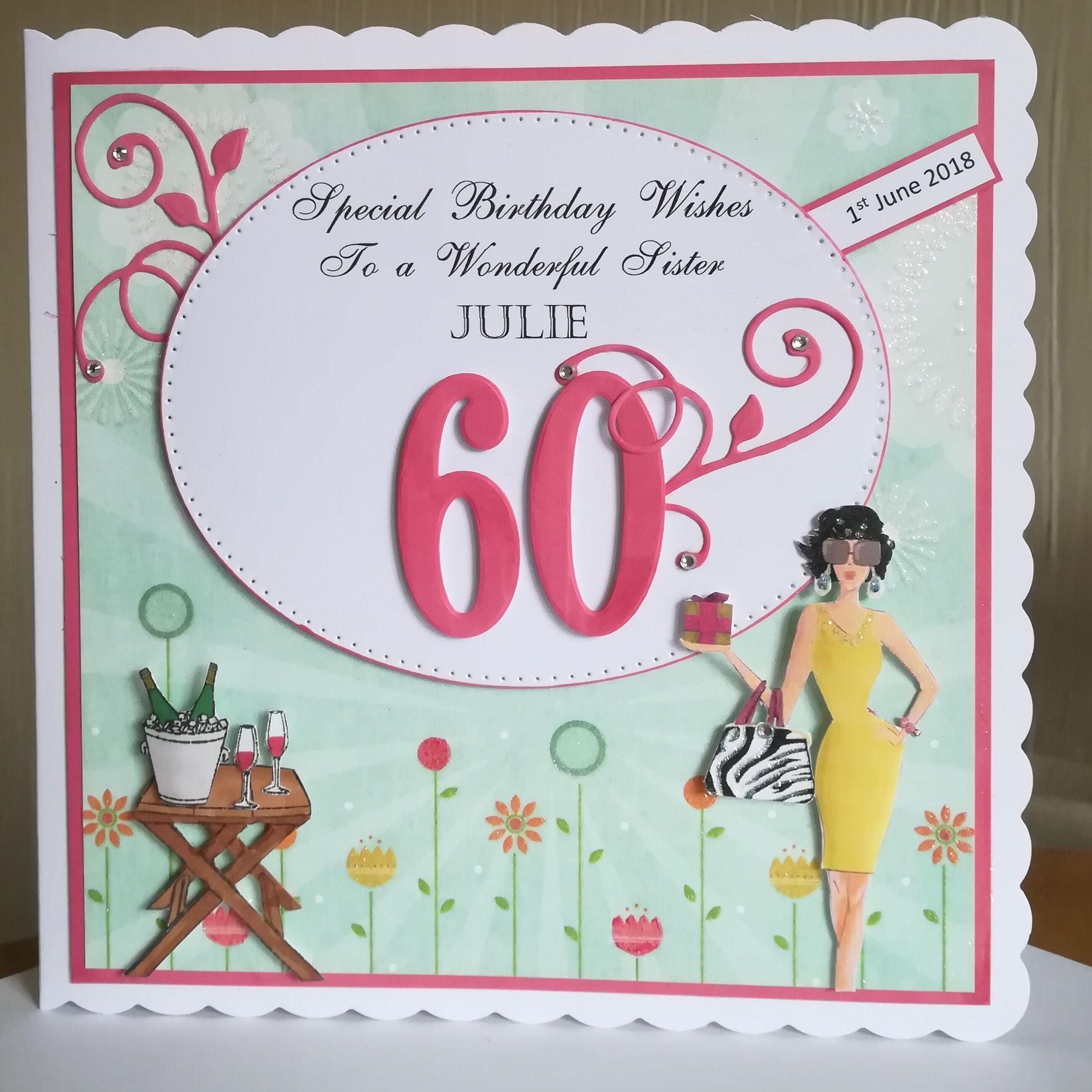 60th Birthday Card Lady Wine 60th Birthday Cards Special Birthday Wishes Handmade Birthday Cards