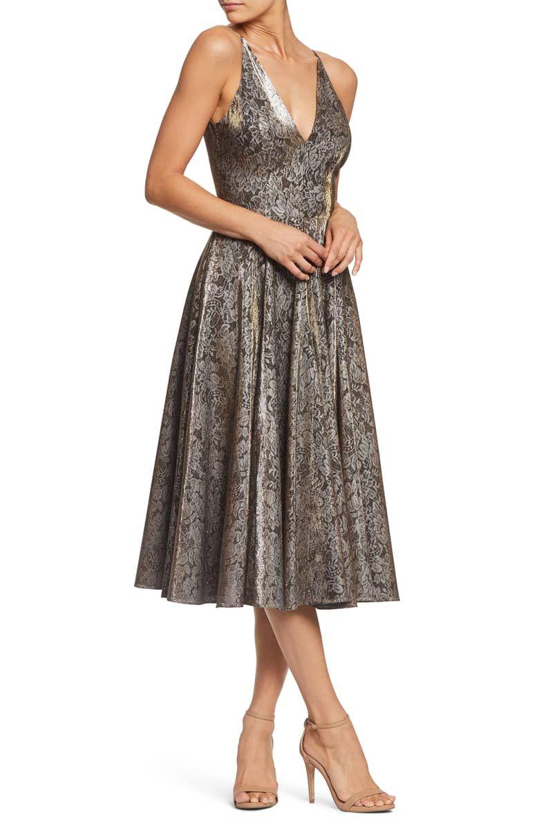 Delilah plunging jacquard fit u flare midi dress main color gold