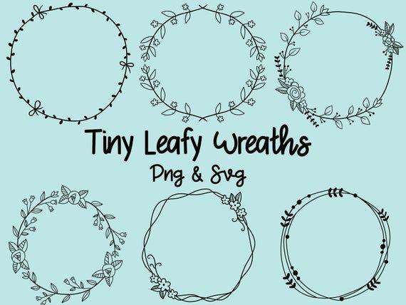 Photo of Tiny leaf wreaths, hand drawn wreaths, doodle clip art, rustic, drawn wreaths, PNG, SVG, vector wreaths, wedding, laurels, cute wreaths