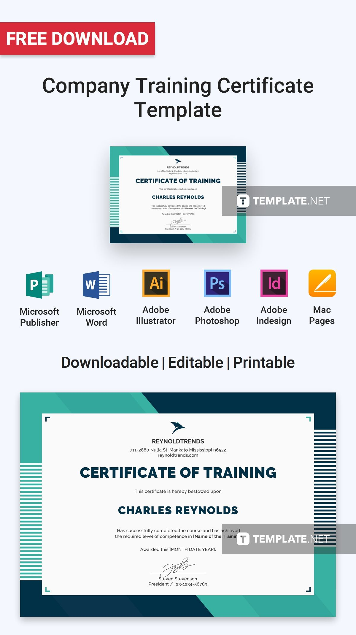 Free Printable Editable Certificates Adorable Free Company Training Certificate  Training Certificate .