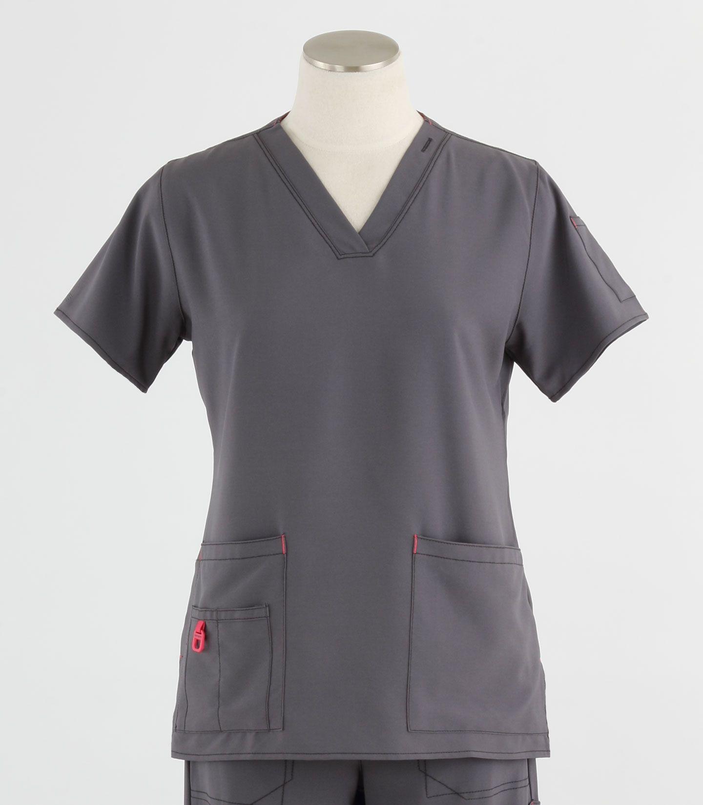 New Black Cherokee 4727 Mock V Neck Scrub Top Size Large Nurse Medical Dental