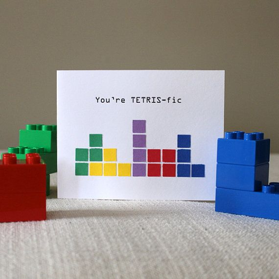 Tetris birthday or thank you card by HandmadesRovena on Etsy, $5.95