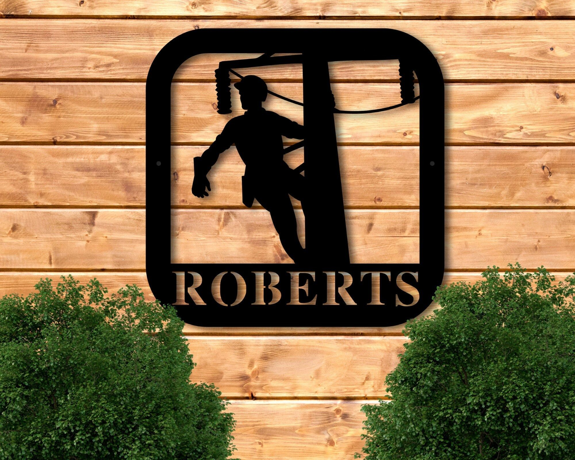 Lineman Gifts, Metal Lineman Sign, Personalized Lineman Metal Sign, Lineman Sign, Last Name Sign, Custom Metal Sign, Lineman Gift for Him