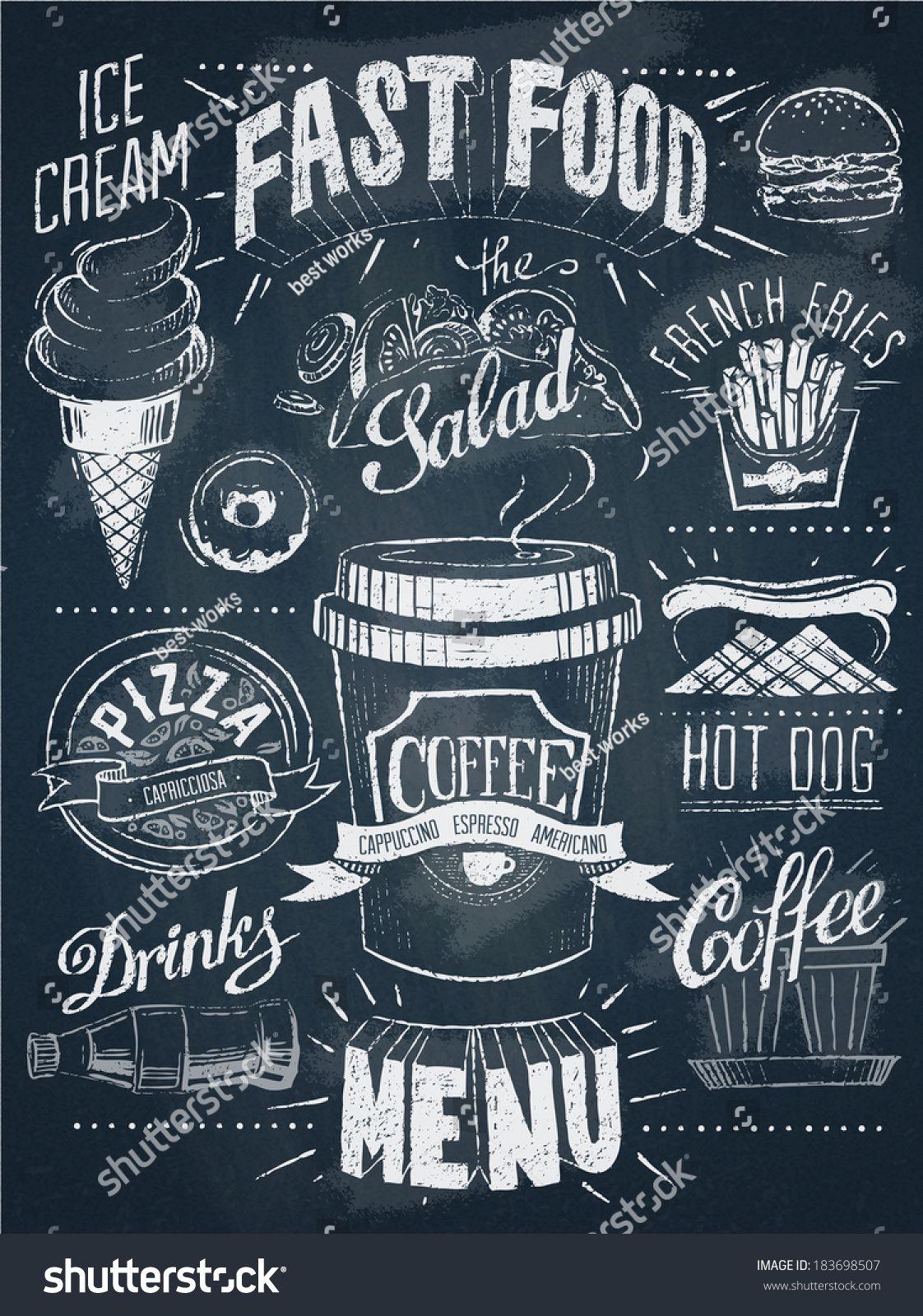 fast food chalkboard design set food pinterest chalkboard