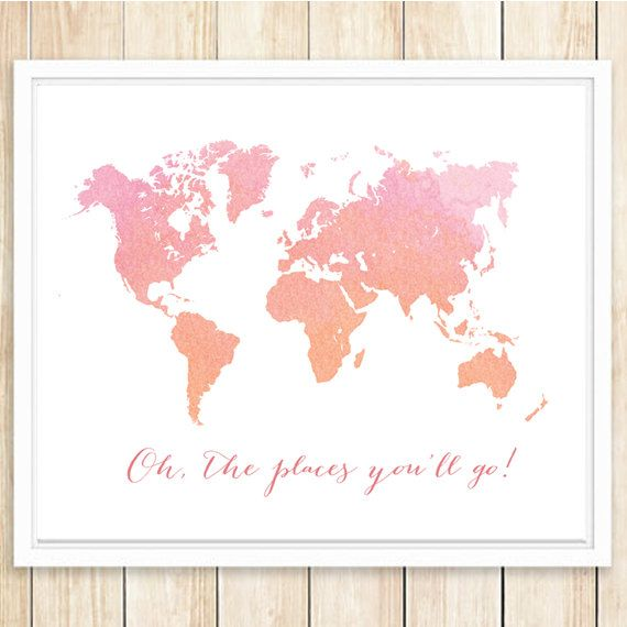 Large World Map Poster World Map Print 16x20 And 11x14 Printable Wall Art Ombre Print Pink Co Large World Map Poster World Map Poster World Map Printable