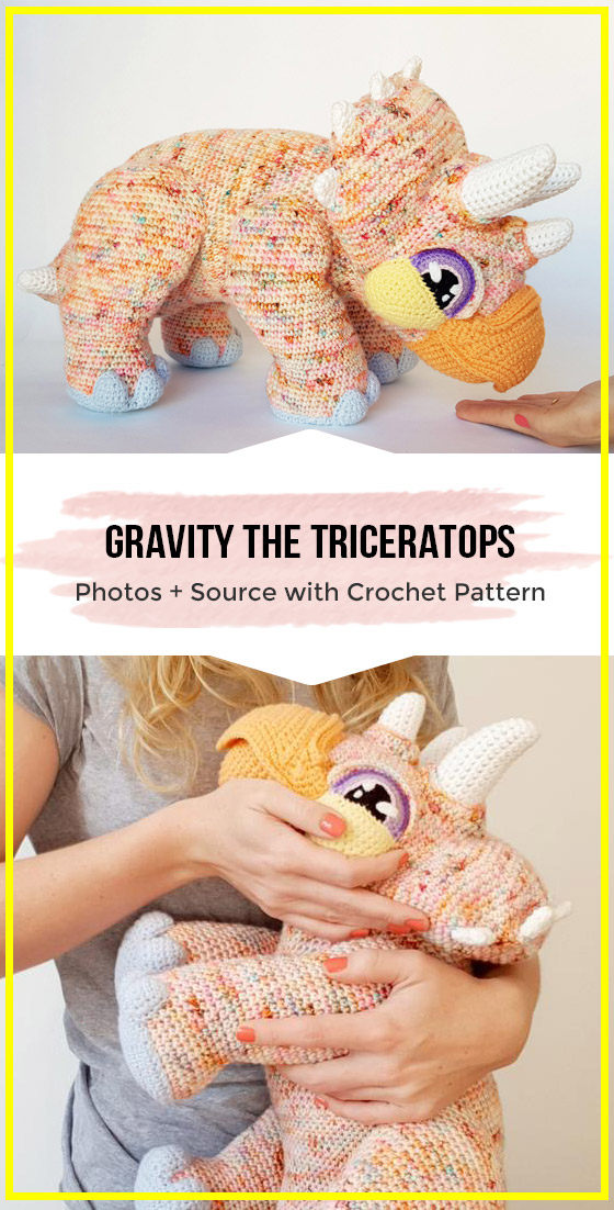 crochet Gravity the Triceratops amigurumi easy pattern
