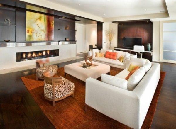 Luxus Wohnzimmer Art Wanddeko Weißes Sofa Tier Gemusterte Möbel
