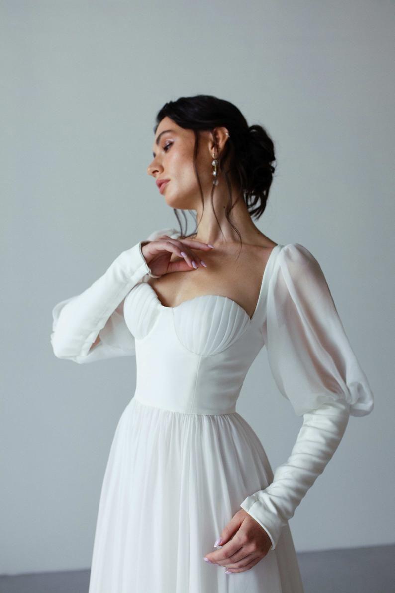 Seashell Cup Corset Wedding Dress A Line Long Train Puff Etsy Wedding Dresses Corset Boho Princess Wedding Dress Wedding Dress Chiffon [ 1191 x 794 Pixel ]