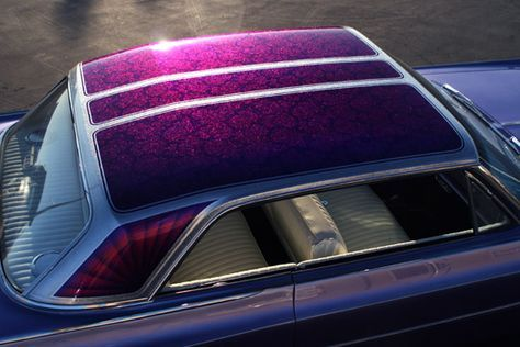 Donnie Baird S 1963 Oldsmobile Silver Metalflake Top With Candy Purple Lace Panels Custom Cars Paint Lace Painting Kustom Paint