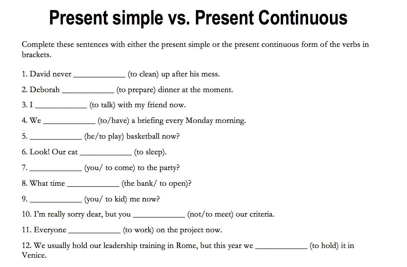 Worksheet On Simple Present Tense In