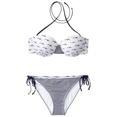 d37847dbe3f68 Xhilaration® Juniors 2-Piece Bikini Swimsuit in Bird Print -Navy/White